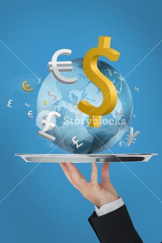 Waiter presenting the world and currency