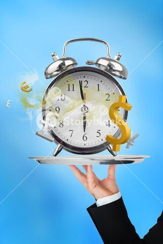 Waiter holding up time is money concept