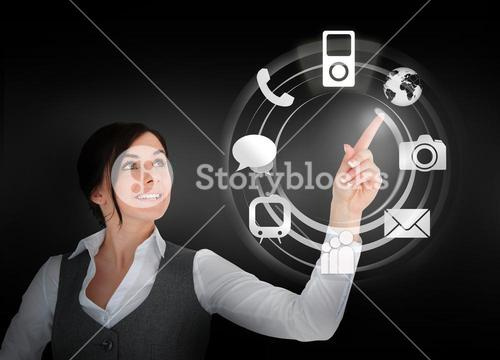 Businesswoman using wheel interface for applications