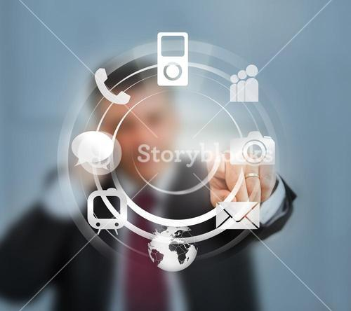 Businessman using wheel interface for computer applications