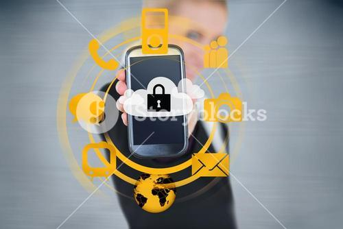Businesswoman holding up locked smart phone with orange applications
