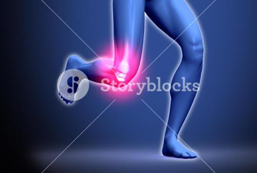 Digital blue body running with ankle highlighted in pink