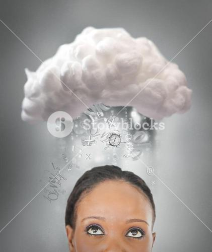 Girl thinking about cloud computing