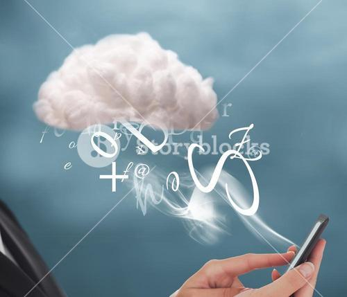 Businesswoman connecting to cloud computing