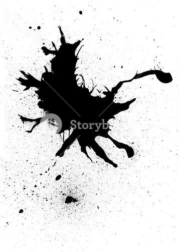Black ink blob abstract design with splatter