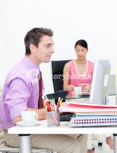 Portrait of business people working