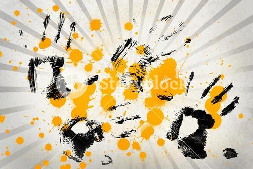 White and grey linear pattern with hand prints and paint splashes