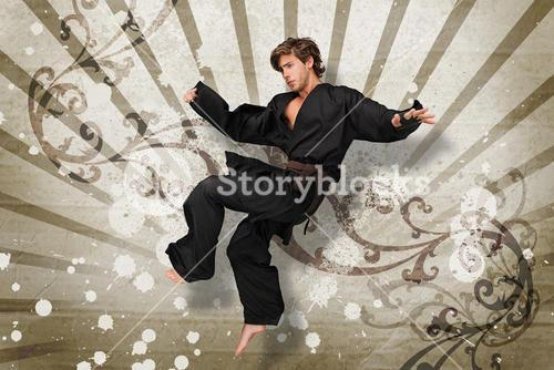 Martial arts expert jumping