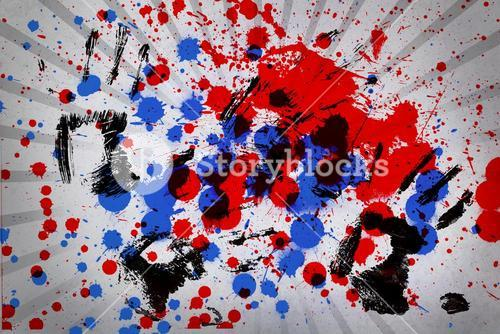 Blue and red paint splashes with black hand prints