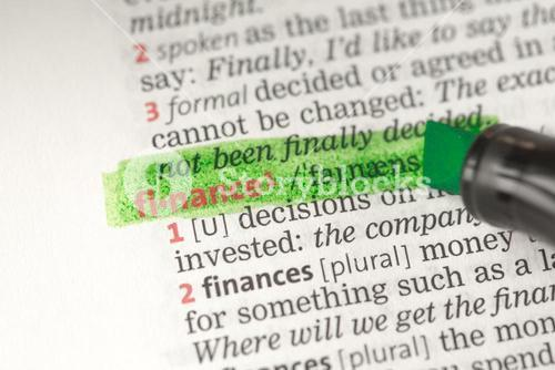 Finance definition highlighted in green