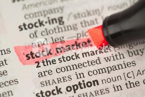 Stock market definition highlighted in red