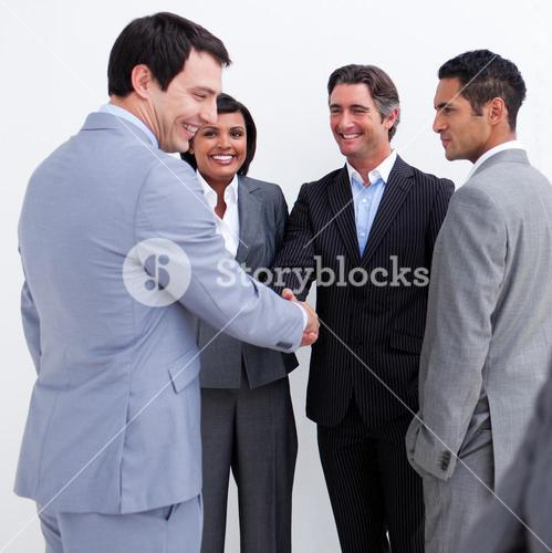 Business people greeting each other