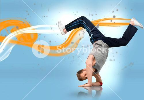 Break dancer busting out a move