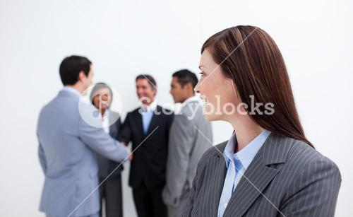 Attractive female executive looking at her team