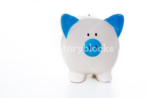 Hand painted blue and white piggy bank