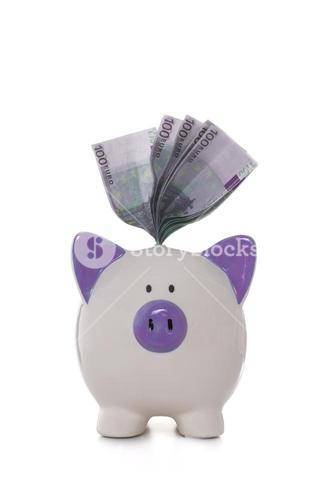 Euros sticking out of hand painted purple and white piggy bank