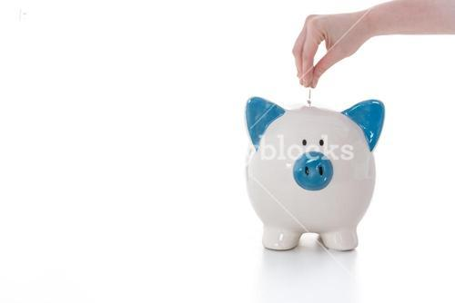 Hand placing coin into blue and white piggy bank