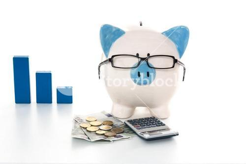Piggy bank wearing glasses with calculator and cash and blue graph in background