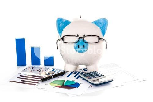 Piggy bank wearing glasses with accountancy paperwork