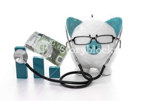 Piggy bank wearing glasses and stethoscope