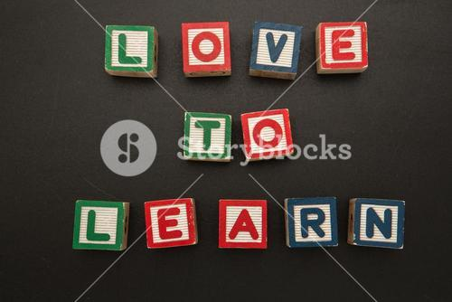 Love to learn message in wooden blocks