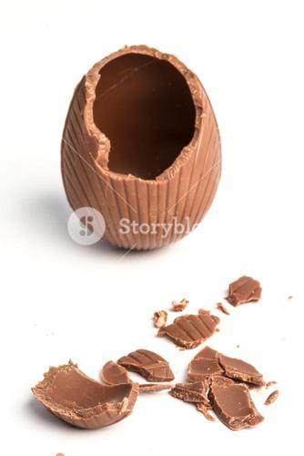 Broken chocolate easter egg