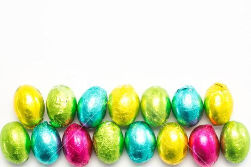 Colourful foil wrapped easter eggs