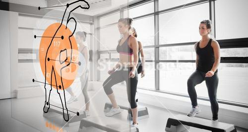 Women workout with futuristic interface showing them how to do