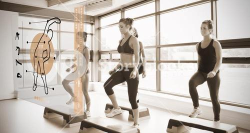 Women workout with orange interface showing them how to do