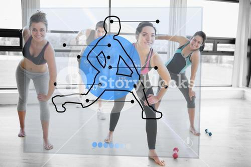 Women doing exercise with futuristic blue interface demonstration