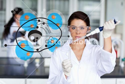 Serious chemist working with cell interface