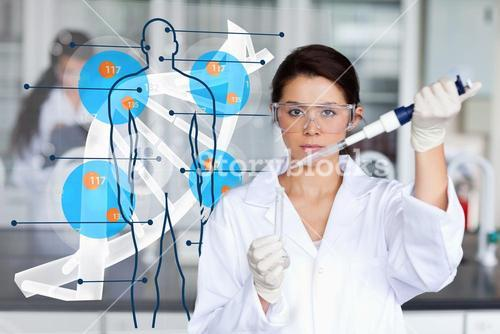Serious chemist working with human dna interface