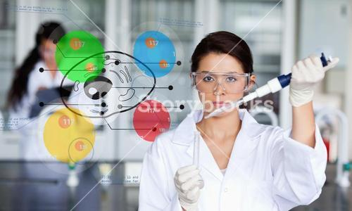 Serious chemist working with colourful cell diagram inteface