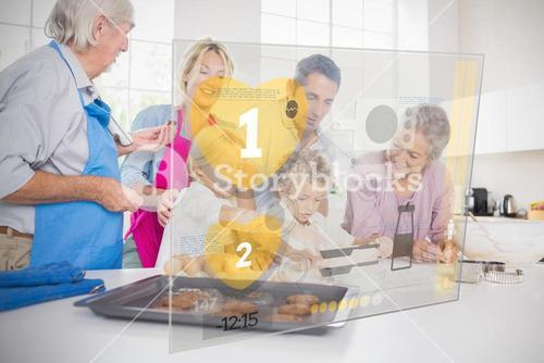 Extended family baking together with futuristic interface