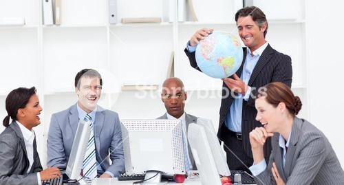 A meeting of a lucky business team about globalization