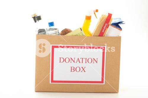 Cardboard donation box with houseware product and food