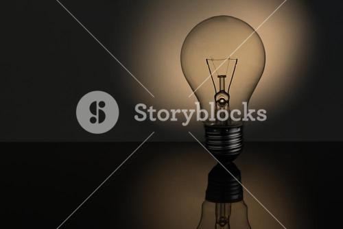 Filament light bulb with copy space
