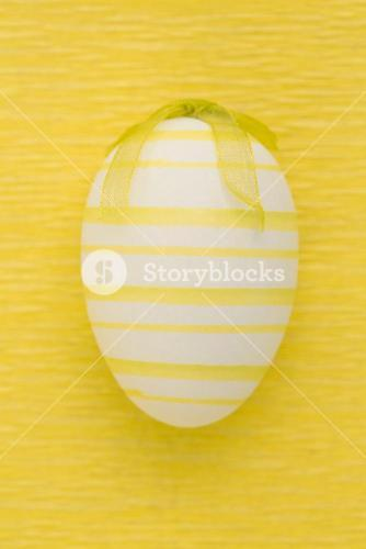 Close up on striped easter egg