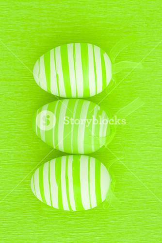 Three green easter eggs