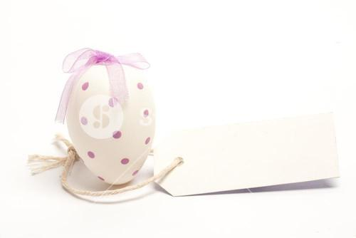 White easter egg with blank tag