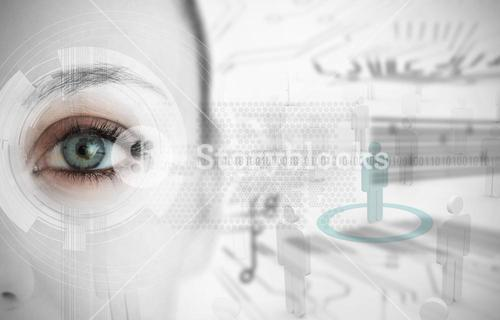 Close up of woman eye with futuristic interface