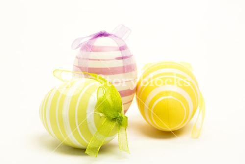 Three striped easter eggs