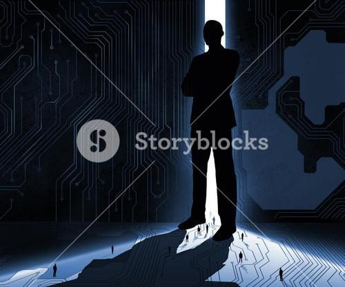 Silhouette of businessman guarding door