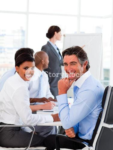 A diverse business group at a meeting