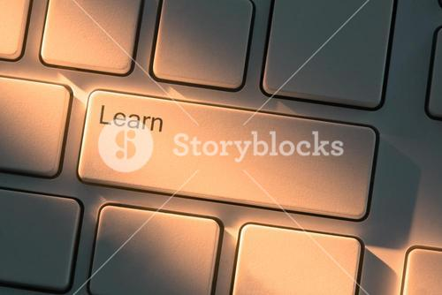 Keyboard with close up on learn button