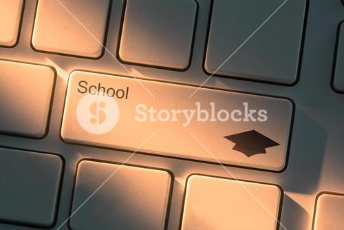 Keyboard with close up on school button