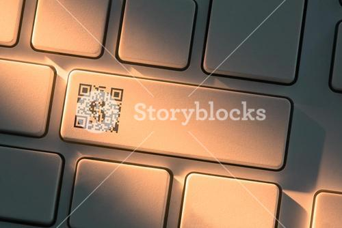 Keyboard with close up on qr code symbol