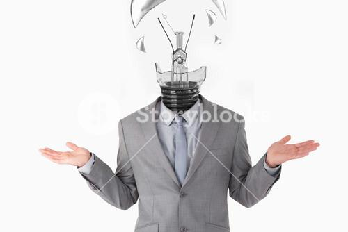 Businessman having light bulb instead of head