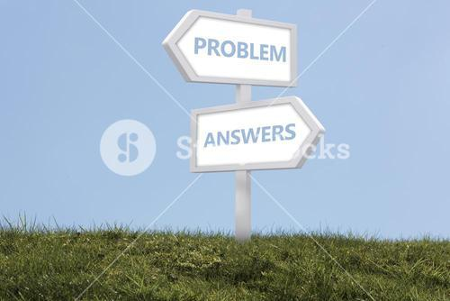 Sign posts spelling out problem and answers