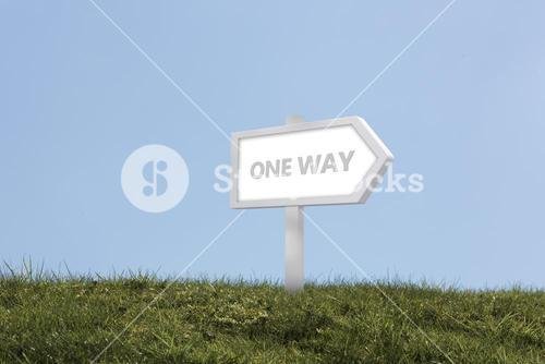 Sign post spelling out one way